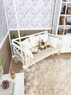 Cute accessory for your roombox or dollhouse. Suitable for dolls (about tall). Approximate size: -height width depth (height width depth You can choose the options: -unpainted DIY kit (you can assemble and paint by yorself. Barbie Room, Barbie Dolls Diy, Barbie Doll House, Barbie House Furniture, Modern Dollhouse Furniture, Miniature Furniture, Cute Furniture, Diy Doll Furniture Plans, Barbie Furniture Tutorial