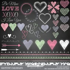Valentine's Day Chalkboard Clipart Elements