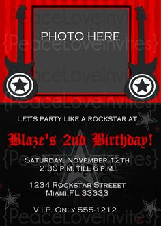 Rock 'n' roll party invitation