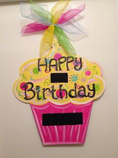 Birthday door hanger, cupcake door hanger, party door decor,girl party…
