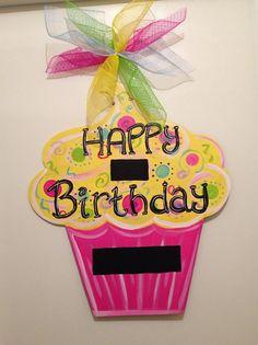 Birthday door hanger, cupcake door hanger, party door decor,girl party…