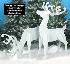 Large White Reindeer Wood Patterns