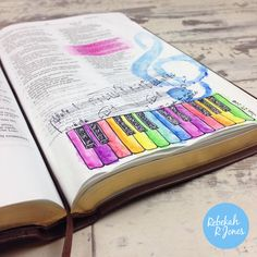 Bible Art Journaling Challenge Week 4 - Shout Joyfully, learn to stamp in your Bible and watercolor. Watch the video! #IllustratedFaith #BibleArtJournalingChallenge #BibleArt