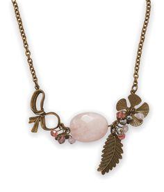 Ornate Antique Brass and Rose Quartz Necklace