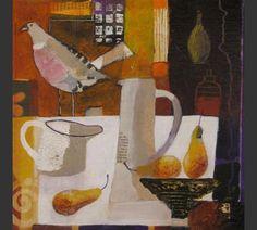 Anuk Naumann - Golden Pears and Pigeon. Painting Still Life, Still Life Art, Art Village, Arte Floral, Bird Art, Art Techniques, Painting Inspiration, All Art, Abstract Art