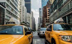 Lataa kuva New York, 4k, keltainen taksi, street, pilvenpiirtäjiä, USA, NYC, Amerikassa