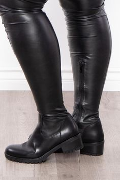 """A pair of fauxleatherover the knee boots, by Azalea Wang, featuring an almond toe, inner ankle zipper closure, super stretch throughout, a flat sole with 2"""" heel, and a super stretchy 28"""" long shaft.The model wearing this pair is wearing an 8.5... Brown Thigh High Boots, Leather Over The Knee Boots, Black Boots, Sexy Boots, Tall Boots, High Heel Boots, High Heels, Riding Boots, Black Leather"""