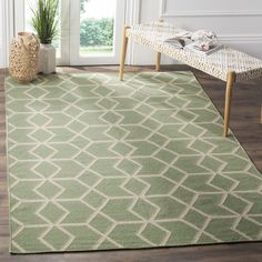 Safavieh Hand-woven Moroccan Reversible Dhurrie Sage Green Wool Rug ((2' 6 x 8' Runner)), Size 2'6 x 8'