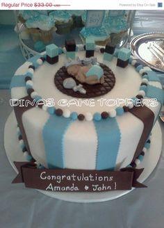 ON SALE Prince Baby Shower First Birthday FONDANT  Boy Cake Topper Baptism Christening Crown favors decorations 1st Birthday Blocks. $28.05, via Etsy.