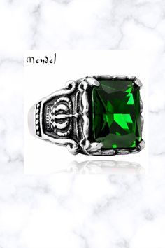 Crown Faux Green Emerald Stone Ring