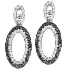 Black and White Diamond Earrings in 14K White Gold