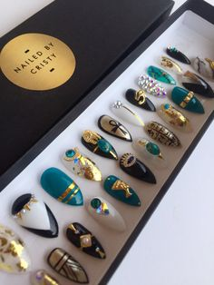 Egyptian Inspired Press On Nails | Any Shape | Swarovski Crystals | Hand Painted…
