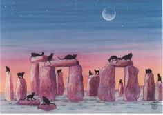 Black Cats on Stonehenge Print of Original Painting by EYEDEAS, $12.00