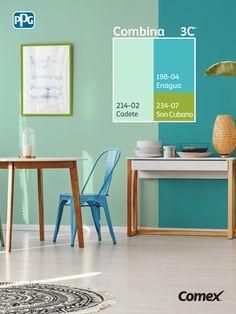 Logra el balance perfecto de color en tu proyecto seleccionando 3 tonos distintos, 60% color predominante, 30% color intermedio y 10% color de acento. En este caso utilizamos colores frescos para darle un aire limpio y relajado al comedor 🌿 🌵   #Combina colores y transforma tu espacio. #Combina3C® Bedroom Wall Colors, Room Colors, Bedroom Decor, Punk Decor, Wall Color Combination, Wall Painting Decor, Living Room Color Schemes, Room Paint, My Room