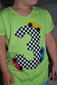 Race car birthday tshirt by curiosew on Etsy, $18.00  ... wonder if I can make this