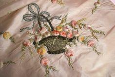 Antique Charming Ribbonwork Silk Lingerie Bag