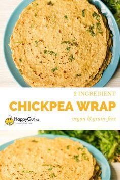 2 Ingredient Chickpea Wraps from happygut.ca #vegan #glutenfree #grainfree