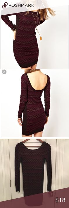 Free People Cozy Cabin Dress Fun pattern, low back. Worn one time. Free People Dresses Long Sleeve