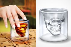 The doomed skull shot glass adopts its name from the Mayan myth about the skull of dome, which the legend claims has the power of life and death. This is made of thick durable glass which feels very sturdy, it has a small glass with skull interior, after filling it with liquor, the crystal skull shot glass looks absolutely evil. The skull holds 2.5 ounces of liquid which is more than one shot glass in the United States. It makes a great gift idea to your friends and family.