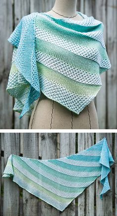 Free until April 2020 Shawl Knitting Pattern for Pania of the Reef Shawl - Two color triangular shawl designed for a gradient yarn and contrasting yarn, though it could also be used with two… Shawl Patterns, Knitting Patterns Free, Free Knitting, Crochet Patterns, Knitted Shawls, Crochet Shawl, Knit Crochet, Knitting For Beginners, Shawls And Wraps