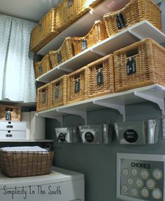 Simplicity In The South: Laundry Room Reveal. Organized small Laundry Room with lots of storage ideas. Must do this in our laundry room ASAP! Laundry Room Organization, Laundry Rooms, Laundry Area, Laundry Storage, Closet Storage, Laundry Shelves, Laundry Baskets, Laundry Closet, Bathroom Closet