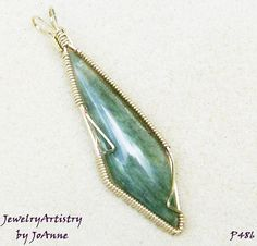Wire Wrapped Pendant  Handmade Green Jade & by JewelryArtistry, $55.00