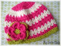 Girlie GirlColorful Chevron IvoryHot PinkLime Green by www.mygirlshats.etsy.com $16.00