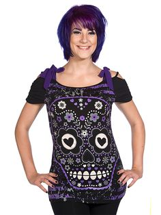 "Women's+""Candy+Skull""+Top+(Black/Purple)"
