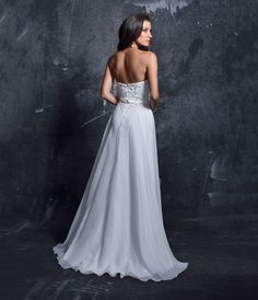 Preorder Nina Canacci 1297 White Embellished Strapless Sweetheart Chiffon Gown For Prom 2017
