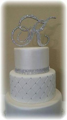 Monogram Wedding Cake Topper Crystal Initial by EnchantingMoment Fake Wedding Cakes, Fondant Wedding Cakes, Elegant Wedding Cakes, Wedding Cake Designs, Wedding Cupcakes, Wedding Cake Toppers, Cake Fondant, Elegant Cakes, Wedding Ideas