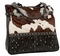 American West Women S Prairie Rose Brown And Cream Cowhide Tooled Leather Large Zip Top Carry