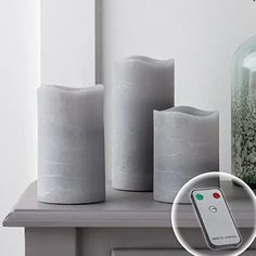 Set of 3 Gray Wax Battery Operated Flameless LED Pillar Candles with Remote Control Pillar Candle Holders, Candle Set, Glass Candle, Pillar Candles, Marble Fireplaces, Modern Fireplace, Flameless Candles With Remote, Candle Warmer, Wax