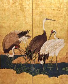 Detail. Crane (Tsuru). Creator: Unknown. 17th century Pair of six-panel Japanese folding screens. Edo (Tokugawa) period.