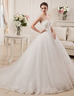Vestido de baile sem alças com trem vestido de casamento de cetim com beading by md