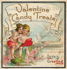 Vintage Victorian Valentine Candy Label Digital Download Collage