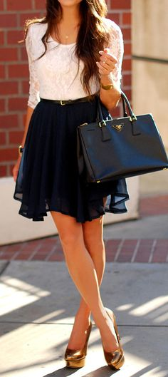 White lace and navy dress the bag ties it all together. With tights it would be the perfect fall combo!