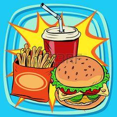 pop art food: fast food fries burger drink cola pop art retro vector. Street restaurant. Nourishing food. Retro food Illustration