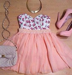 Pink, floral dress. Adding a purple purse makes the look complete!