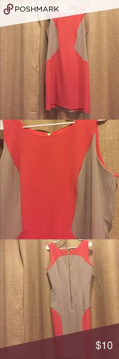 Leslie Fay Colorblock Dress Tanktop dress. Golden zipper in back. Thin salmon pink dress underneath. Salmon pink and tan color. 95% polyester. Leslie Fay Dresses Midi