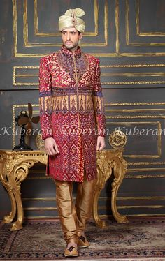 ea5e8c8dc Buy Maroon Silk Embroidered Indo Western Sherwani online in India at best  price.
