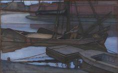 Going Fishing -   Artista: Piet Mondrian (1872-1944) Data da Conclusão: 1900 Estilo: Post-Impressionism Género: marina Técnica: charcoal, pastel, watercolor Material: paper Dimensões: 62 x 100 cm Galeria: Musée d'Orsay, Paris, France