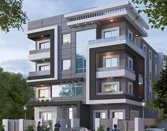 modern residential in new cairo on Behance Building Elevation, House Elevation, Apartment Complexes, Facade Architecture, Modern Buildings, Modern House Design, Building Design, House Plans, Cairo