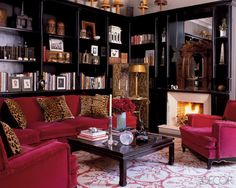 Elle decor Creel black wall library