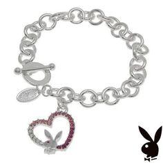 Playboy Bracelet Open Heart Bunny Charm Pink Swarovski Crystals Platinum Plated #Playboy #Playmate