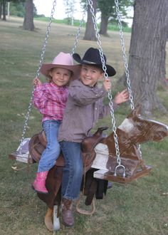Outdoor Horse And Saddle Swing, what a great way to reuse and old worn out saddle and the kids just love it!!