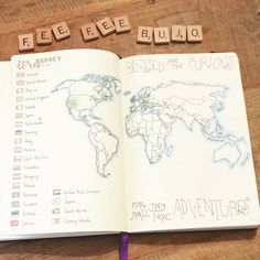 """World Map Tutorial YouTube Video in link - Fee Fee (@feefee_bujo) on Instagram: """"So I made a YouTube video of my travel journal. If you'd like to take a look the link is in my bio…"""""""