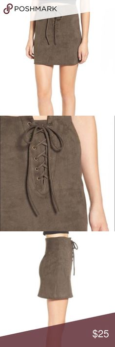 "Leith Faux Suede Lace-Up Mini Skirt edgy mini skirt designed to sit high on the waist. Made with super soft faux suede with slender crisscrossing ties.  Lightly worn and in impeccable condition.   16"" length  Hidden back zip closure  88% polyester, 12% spandex Leith Skirts Mini"