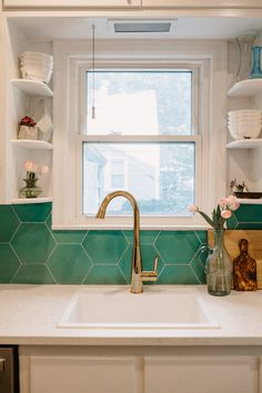 tiles Backsplash sometimes, the smallest spaces make the biggest impacts. here, our cement hexagon tile in kelly green considerably accents the small kitchen backsplash, giving it a natural and harmonious feel to the kitchen. Decor, Green Tile Backsplash, Home, Small Kitchen Decor, Kitchen Remodel, Hexagon Tile Kitchen, Cle Tile, Kitchen Tiles Backsplash, Green Kitchen Backsplash