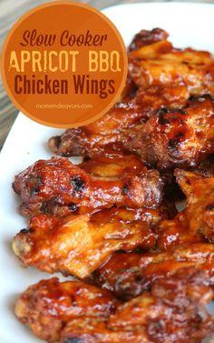 Slow Cooker Apricot BBQ Wings! My mouth is watering just looking at these!