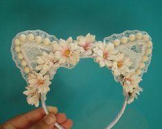 Neko Cat  ears headband, Fantasy hair accessory, flower lolita. on Etsy, $17.00